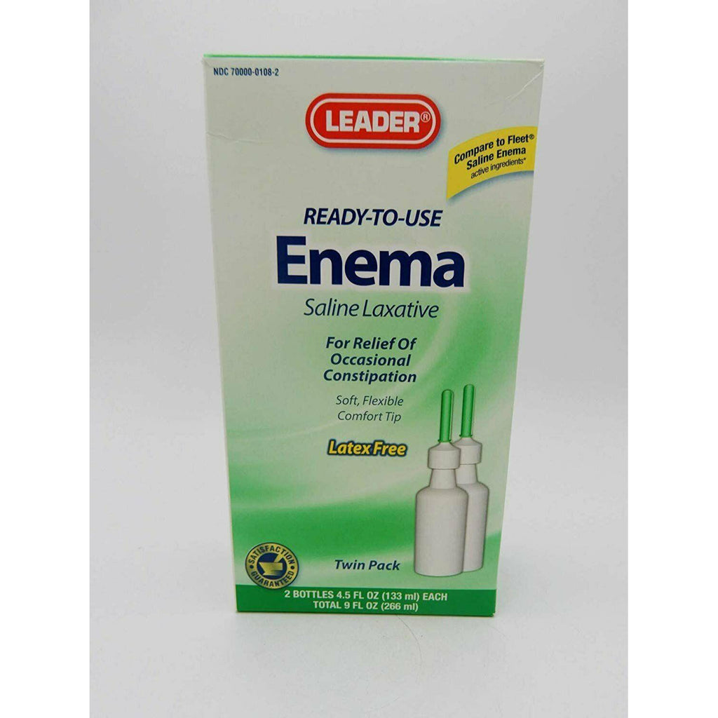 Leader Ready to Use Enema Saline Laxative Twin Pack