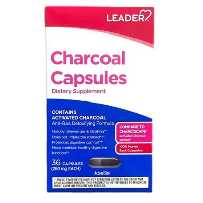 Leader Charcoal Capsules - 36 count