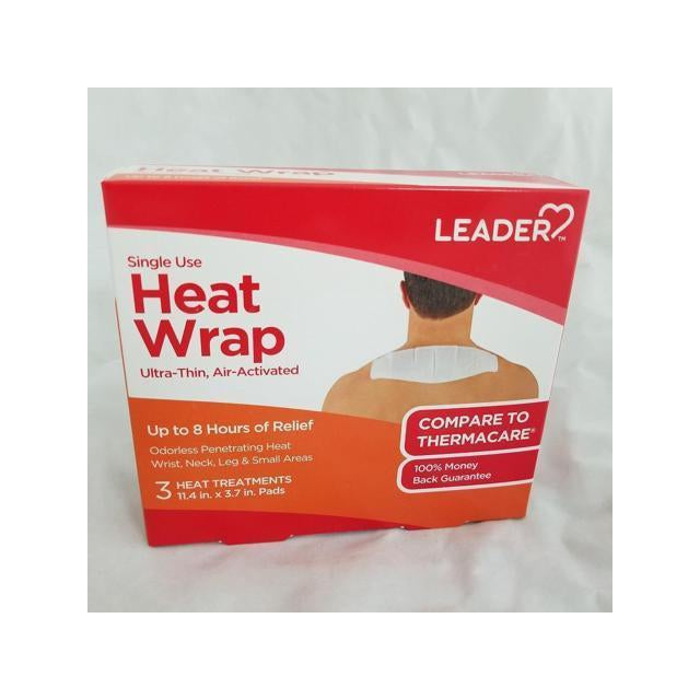 Leader Heat Wrap Ultra Thin, Air Activated, For Wrist, Neck, Leg, and Small Areas, Pack of 3