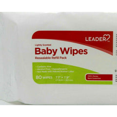 Leader Lightly Scented Baby Wipes Resealable Refill, 80 counts, 1 Pack