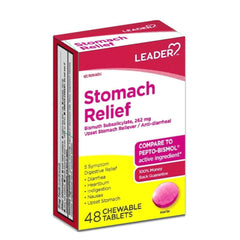 Leader Stomach Relief, Bismuth Subsalicylate 262 mg Chewable Tablet - 48 count