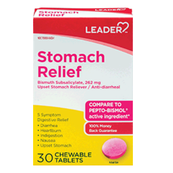 Leader Stomach Relief, Bismuth Subsalicylate 262 mg Chewable Tablet - 30 count