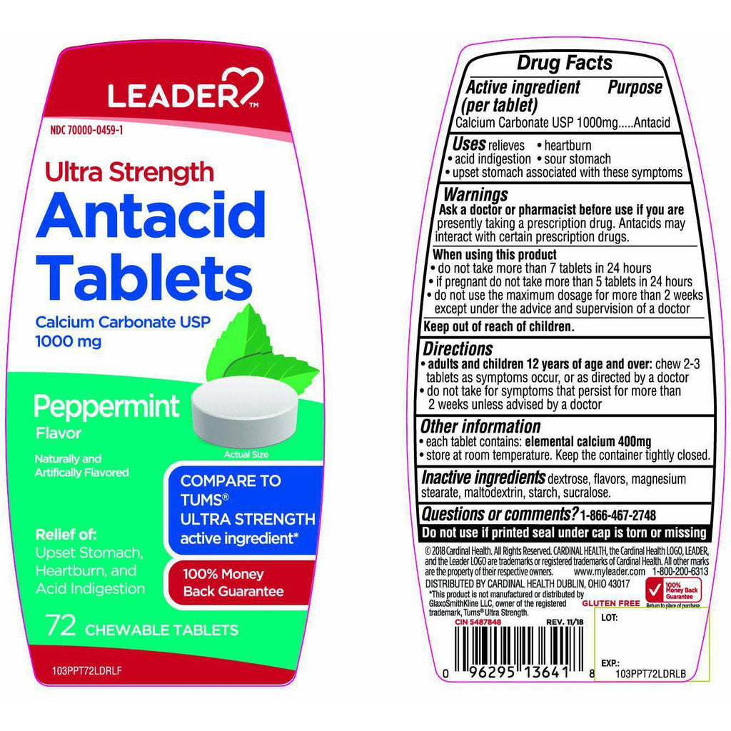 Leader Ultra Strength Antacid Tablets, Peppermint Flavor - 72 count