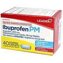 Leader Ibuprofen PM Caplets, Ibuprofen 200mg and Diphenhydramine 38mg, 40 Count