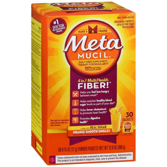 Metamucil Fiber, 30 Single-Serve Packets, Orange Flavored Drink