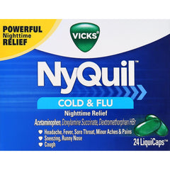 Vicks NyQuil Cough Cold and Flu Nighttime Relief, 24 LiquiCaps in One BOX