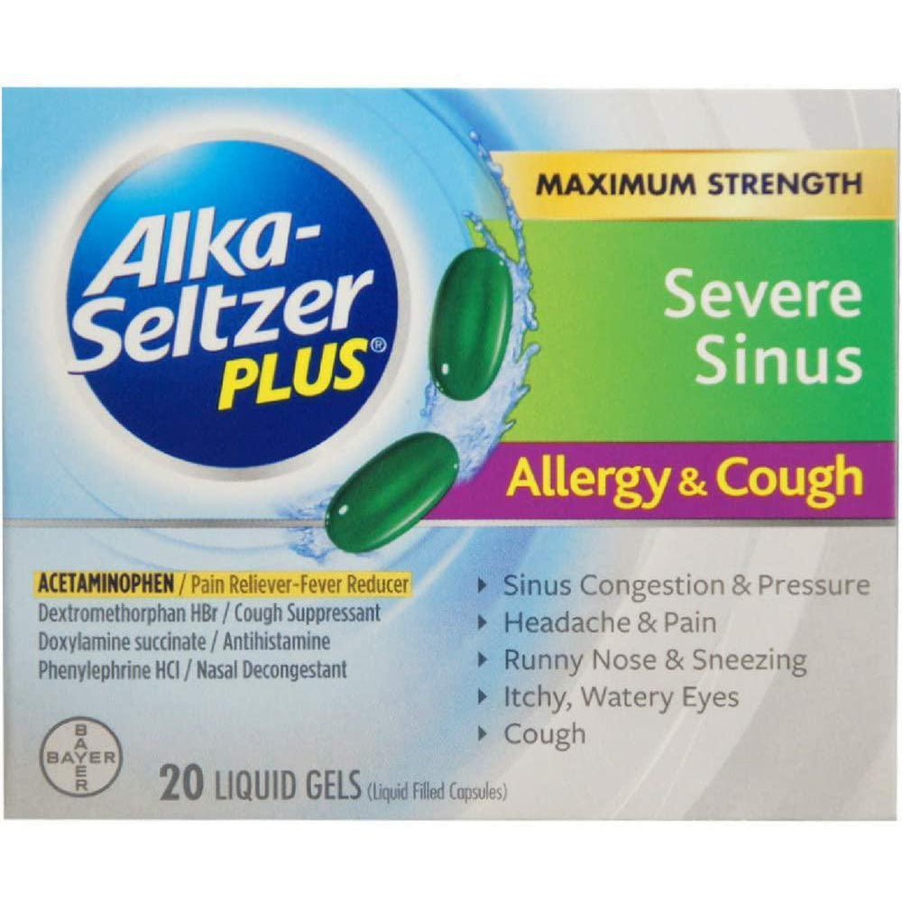 Alka-Seltzer Plus Severe Sinus Congestion Allergy and Cough Liquid Gels, 20 Liquid Gels
