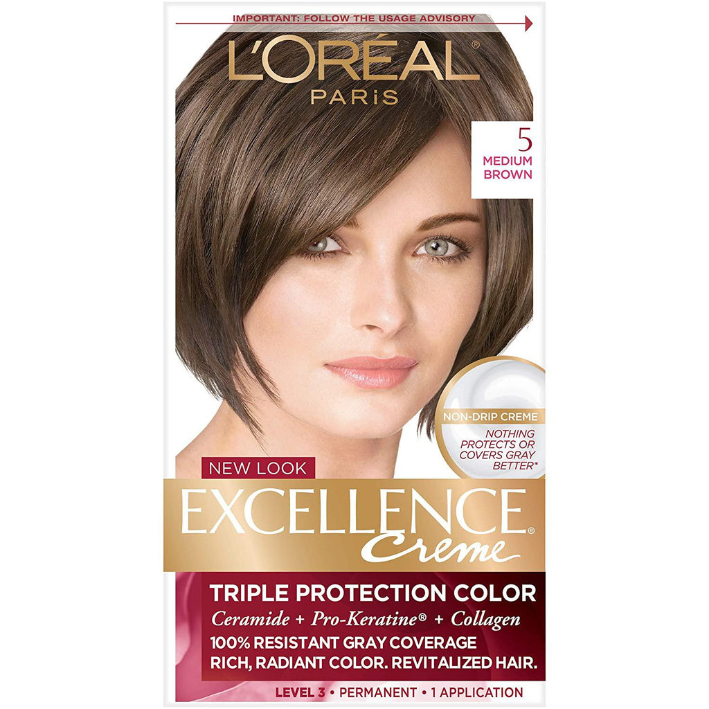 L'Oreal Excellence Creme, Medium Brown [5], 1 COUNT