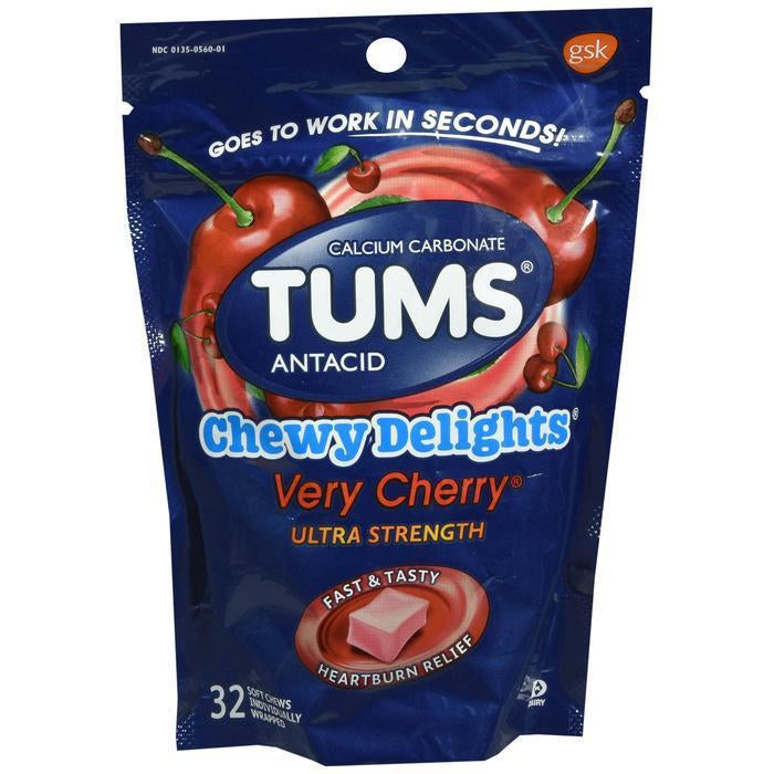 Tums Chewy Delights Soft Chews, Very Cherry - 32 count