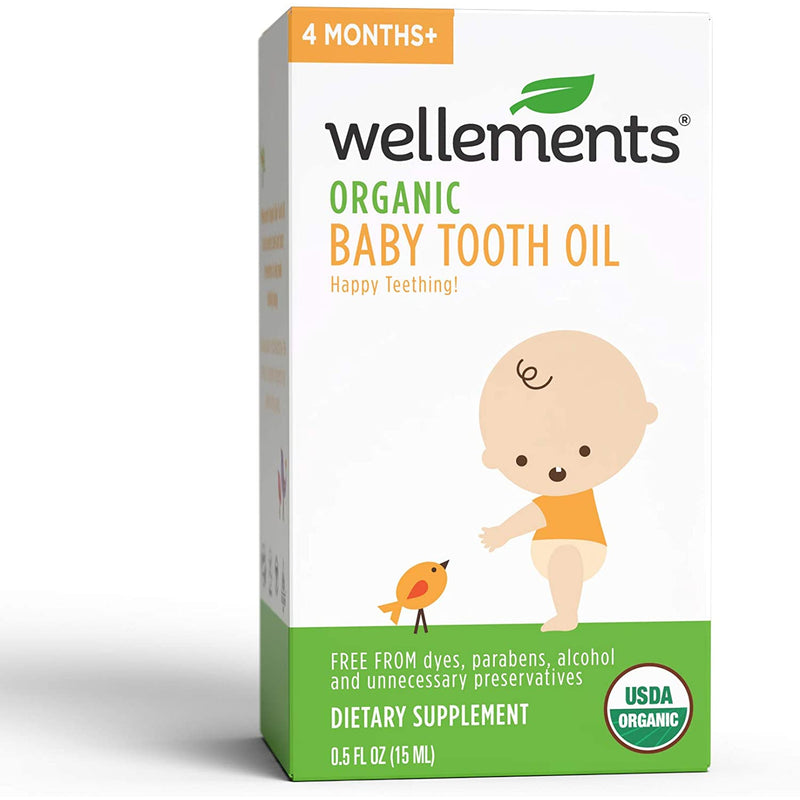 Wellements Organic Baby Tooth Oil for Teething, 0.5 oz