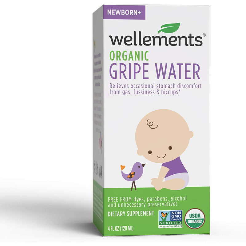 Wellements Organic Gripe Water, Eases Baby's Stomach Discomfort and Gas, Free From Dyes, Parabens, Preservatives, 4 oz