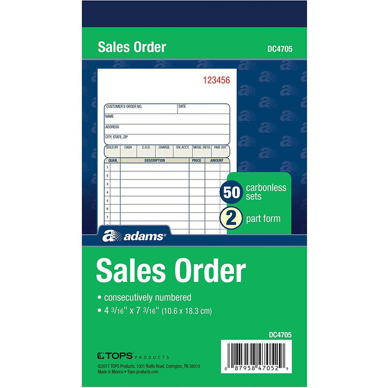 Adams Sales Order Book, 2-Part, Carbonless, White/Canary, 50 Count