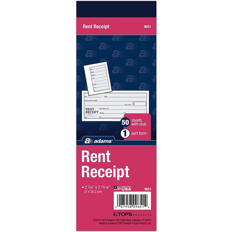 Adams Rent Receipt Book, 1-Part with Tear-Off Stub, 50 Count