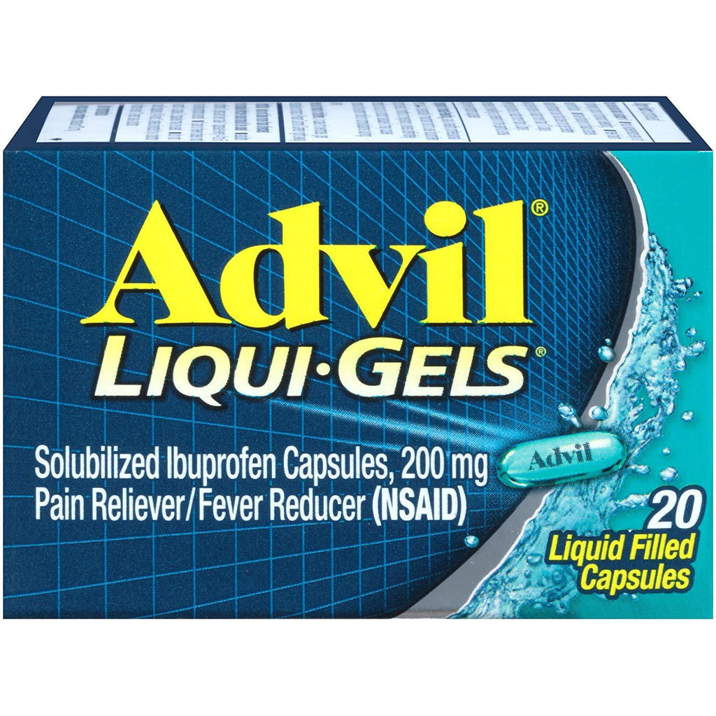Advil Liqui-Gels, Ibuprofen 200mg, Pain Reliever and Fever Liquid Filled Capsules, 20 Count