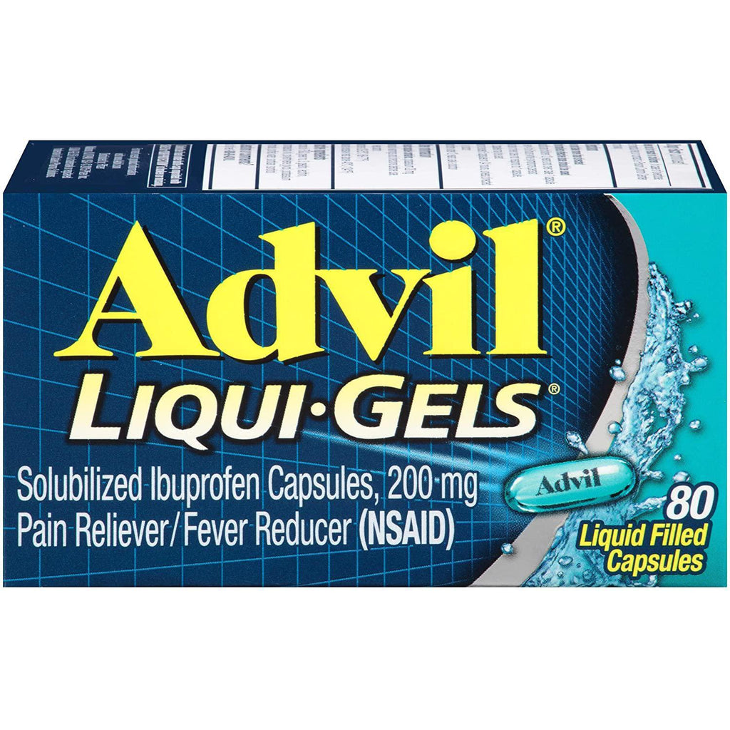 Advil Liqui-Gels Pain Reliever and Fever Reducer, Solubilized Ibuprofen 200mg, 80 Count