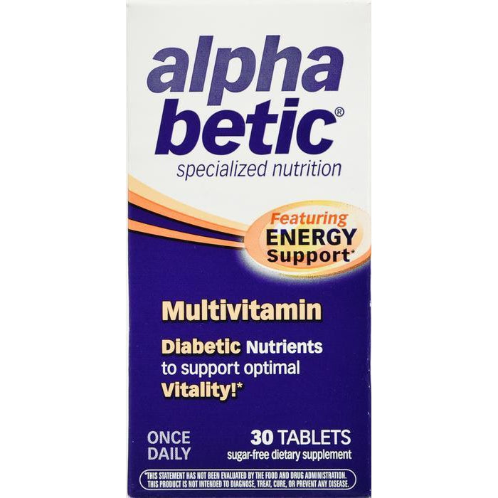 Alpha Betic Once Daily Multivitamin for Diabetics, Gluten Free, Sugar Free, Extended Energy Dietary Supplement, 30 Tablets
