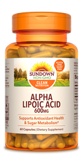 Sundown Alpha Lipoic Acid Capsules, 600mg, 60 Count