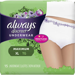 Always Discreet, Incontinence Underwear for Women, Maximum Classic Cut, XL, 15 Count