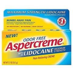 Aspercreme Pain Relieving Creme With Lidocaine, Lidocaine 4%, 2.7 Ounce
