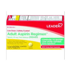 Leader 81mg Aspirin Enteric Coated Tablets, 120 Count