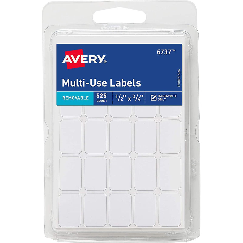 Avery Removable Labels, Rectangular, White, 525 Count