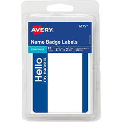 Avery Self-Adhesive Name Badge Labels with Blue Border, 25 Pack