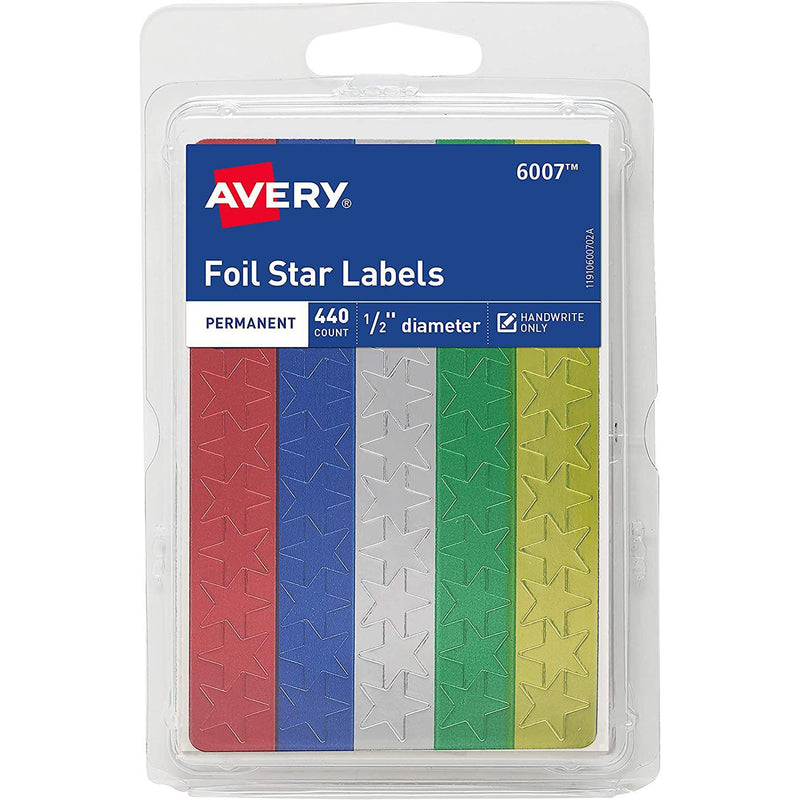"Avery Foil Star Stickers, 1/2"" Diameter, Assorted Colors, 440 Count"