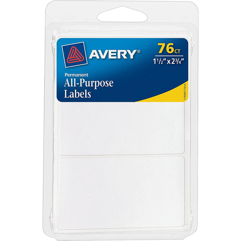 Avery All-Purpose Labels, White, 76 Count