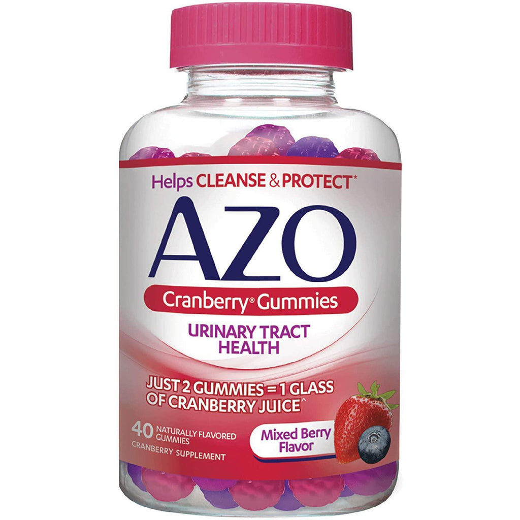 AZO Cranberry Urinary Tract Health Gummies Dietary Supplement | Natural Mixed Berry Flavor | 40 Gummies