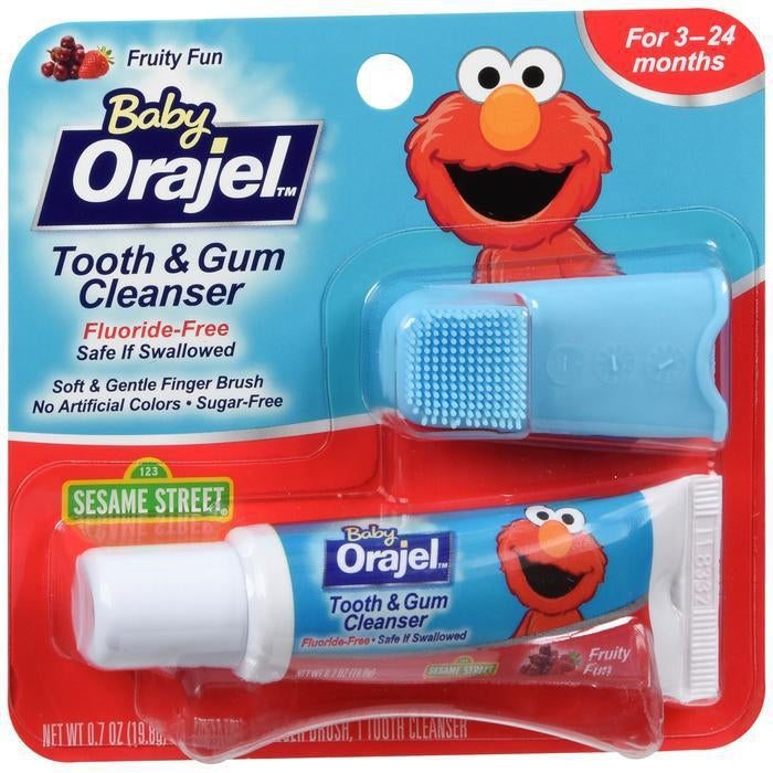 Baby Orajel Elmo Tooth & Gum Cleanser with Finger Brush, Fruity Fun - 0.7 Oz
