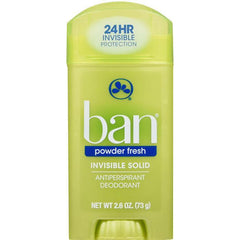 Ban Antiperspirant Deodorant, Invisible Solid, Powder Fresh, 2.6 Ounce