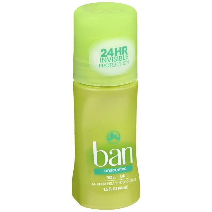 Ban Roll-On Antiperspirant Deodorant, Unscented, 1.5oz