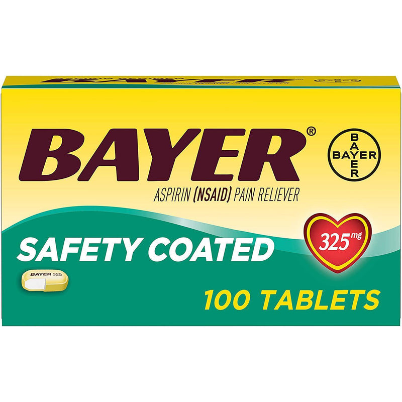 Bayer Aspirin 325mg Enteric Coated Tablets, 100 Count
