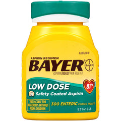 Bayer 81mg Aspirin Enteric Coated Tablets, 300 Count