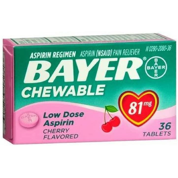 Bayer 81mg Aspirin Chewable Tablets, Cherry Flavored, 36 Count