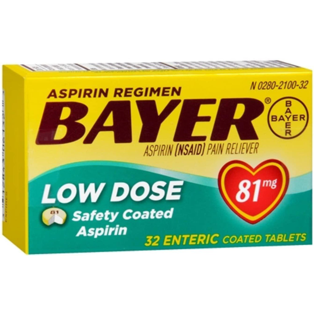 Bayer 81mg Aspirin Enteric Coated Tablets, 32 Count