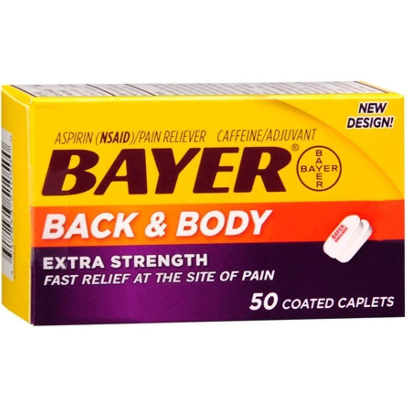 Bayer Back & Body Aspirin 500mg Coated Tablets, Pain Reliever with 32.5mg Caffeine, 50 Count