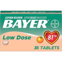 Bayer 81mg Aspirin Chewable Tablets, Orange Flavored, 36 Count