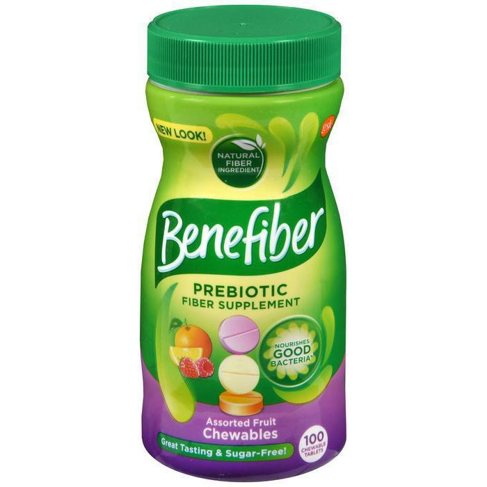 Benefiber Prebiotic Fiber Supplement, Assorted Fruit Chewables, Sugar Free -100 Count 100ct