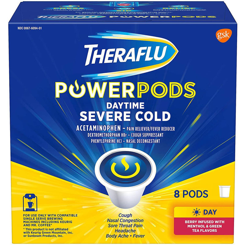 Theraflu PowerPods Daytime Severe Cold, Berry Menthol & Green Tea, 8 Pods