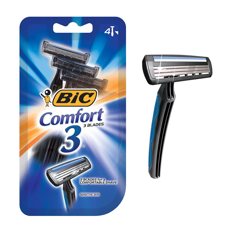 BIC Comfort 3 Disposable Shaver, Men - 4 Count