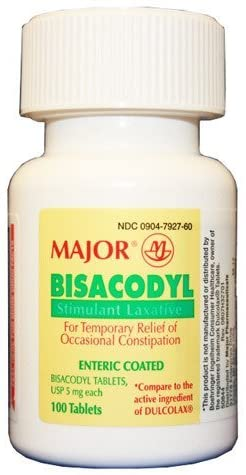 Major Bisacodyl Tabs 5mg- 100 Count Stimulant Laxative, enteric coated Tablets