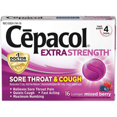 Cepacol Maximum Strength Throat and Cough Drop Lozenges, Mixed Berry, 16 Lozenges