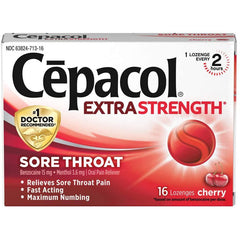 Cepacol Extra Strength Sore Throat & Cough Drop Lozenges, Cherry, 16 Lozneges