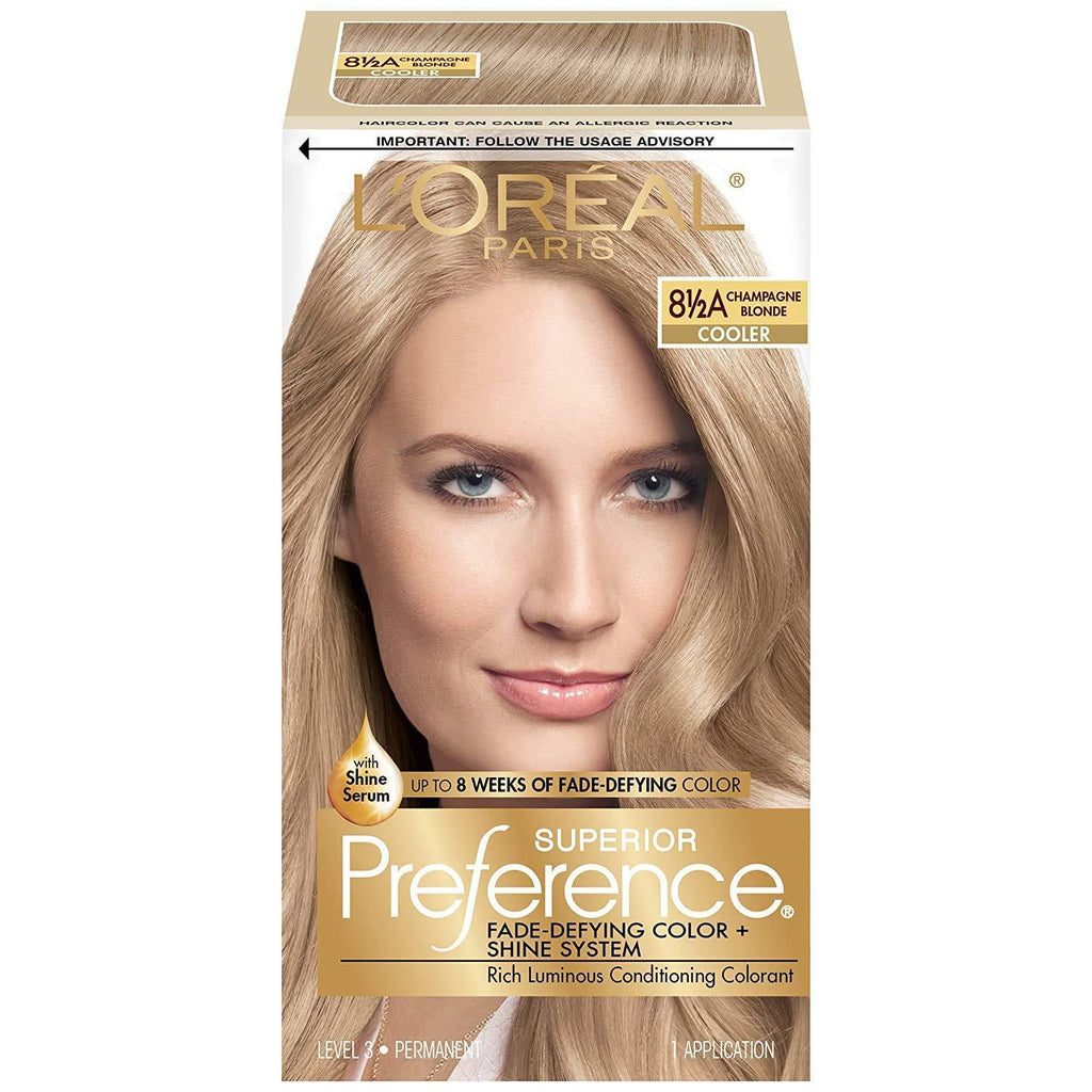 L'Oréal Paris Superior Preference Fade-Defying + Shine Permanent Hair Color, 8.5A Champagne Blonde, 1 COUNT