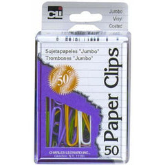 Charles Leonard Paper Clips in Reusable Box, Vinyl Coated, Jumbo, 50 Count