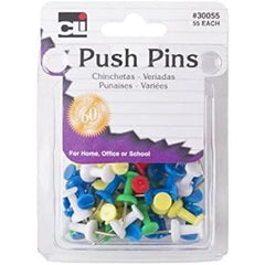 Charles Leonard Push Pins, Assorted Colors, 55 Count