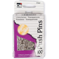Charles Leonard Push Pins, Clear, 55 Count