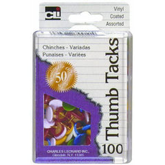 Charles Leonard Thumb Tacks in Reusable Box, Vinyl Coated, Assorted Colors, 100 Count