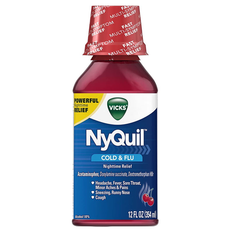 Vicks NyQuil Cough Cold and Flu Nighttime Relief, Cherry Liquid, 12 Fl Oz